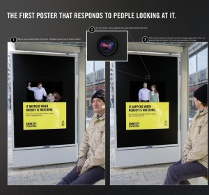 Ad using eye catching technology